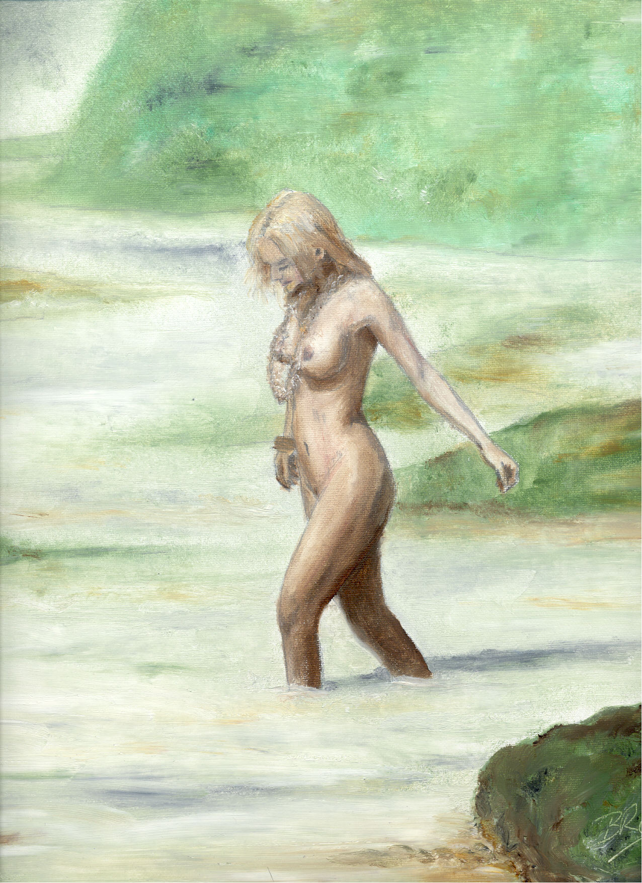 Wading in the Sea - Oil Painting